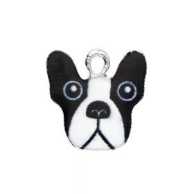 SweetCharm™ bulldog / charm pendant / 16x16x2mm / silver / 2pcs