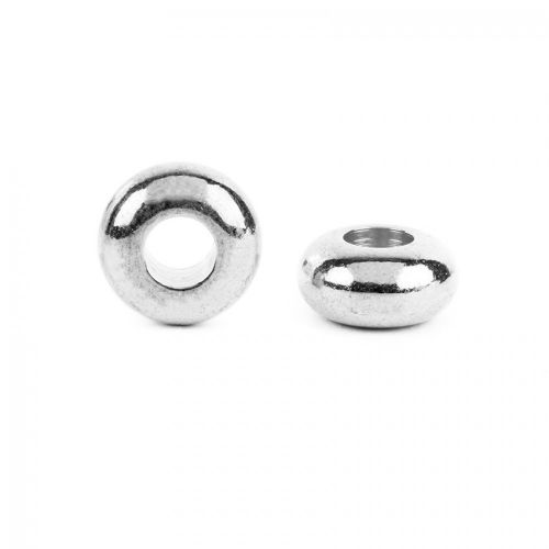 Silver Plated Donut/Rondelle Spacer Beads 5x10mm (4mm hole) Pk5