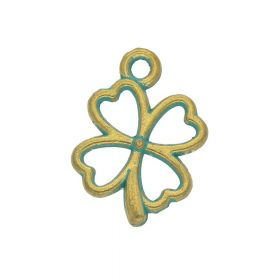 Clover / charm pendant / 20x14x2mm / antique gold - aqua / 4pcs