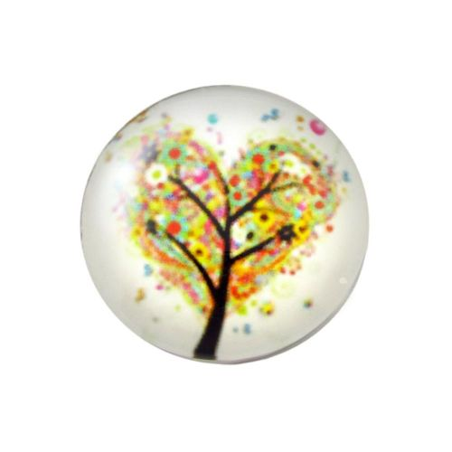 Glass cabochon with graphics K20 PT1074 / white-yellow / 20mm / 2pcs