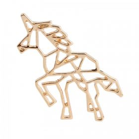 Gold Plated Origami Unicorn Charm 20x38mm Pk1