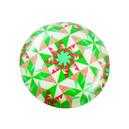 Glass cabochon with graphics K14 PT1038 / green-pink / 14mm / 4pcs