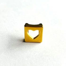 Gold Plated Cut Out Heart Slider Bead 12mm (Hole 3x10mm) Pk1