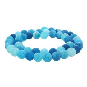 Weathered agate / faceted round / 10mm / azure / 38pcs