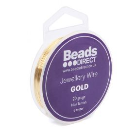 Gold Colour Copper Craft Wire 20 Gauge (0.8mm) 6metre Reel