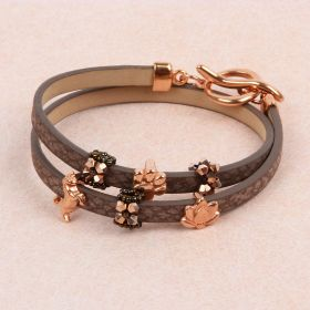 Brown/Rose Gold Mini beaded Bead Slider Bracelet TAMB Kit made with Swarovski - Makes x1