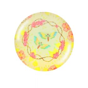 Glass cabochon with graphics K12 PT1231 / yellow-pink / 12mm / 4pcs