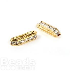 Gold Plated 3-Strand Crystal Bar 5x22mm Pk2