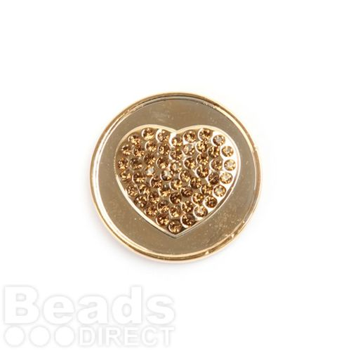 KB Small Gold Plated Crystal Heart Coin Disk for Interchangeable Locket 24mm Pk1