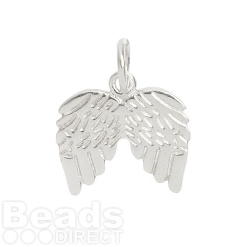 Sterling Silver 925 Angel Wing Charm 12x15mm Pk1