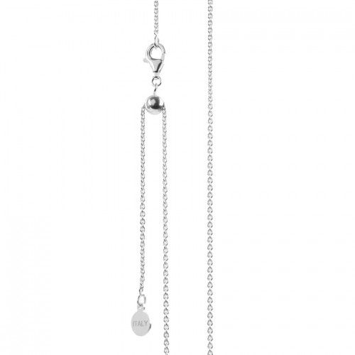 """X- Sterling Silver 925 Cable Chain Adjustable Ball Necklace with Clasp 22"""""""
