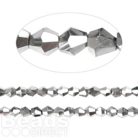 Essential Crystal 6mm Bicones Silver AB Pk50