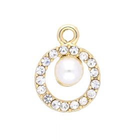 Glamm ™ Hanging pearl / charm pendant / 17 zircons / 19x14x7mm / gold plated / 1pcs