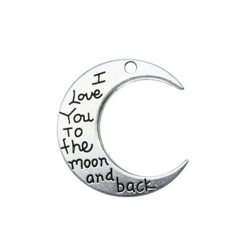 I love you to the moon and back / pendant / 29x27x2mm / silver / 1pcs