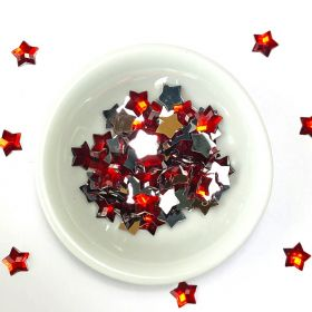 Acrylic / flat back / faceted / star / embellishment / red / 8x1mm / ~4g