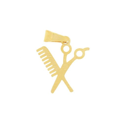 Scissors and comb / charm pendant / with bail / surgical steel / 16x14mm / gold / 1pcs