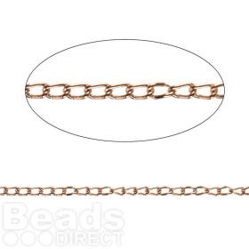 Rose Gold Plated Steel Chain 1.7mm Pre Cut 1metre