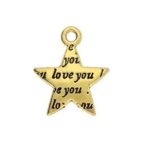 Star / Love you / charm pendant / 15x12.5x3mm / antique gold / 6pcs