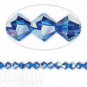 5328 Swarovski Crystal Bicones Xillion 4mm Capri Blue AB Pk24
