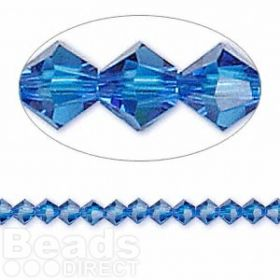 5328 Swarovski Crystal Bicones Xillion 4mm Capri Blue Pk24