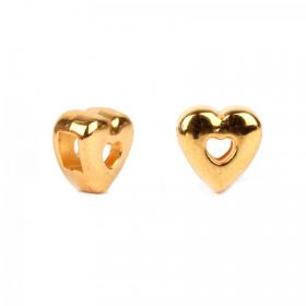 Gold Plated Zamak Heart Slider Bead 7mm (Hole 2x3mm) Pk1