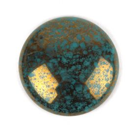 Par Puca Large Cabochon 25mm Opaque Blue Turquoise Bronze Pk1