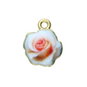 SweetCharm ™ Rose / charms pendant / 13.5x11mm / gold plated / cream-pink / 2pcs