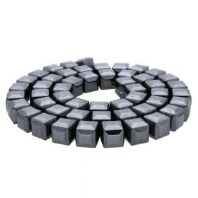 Hematite / faceted cube / 8x8x8mm / classic black / 48pcs
