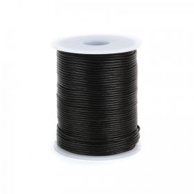 Black Round Leather 1mm 50 Metre Reel