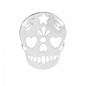 Sterling Silver 925 Mexican Sugar Skull Charm 15x18mm Pk1