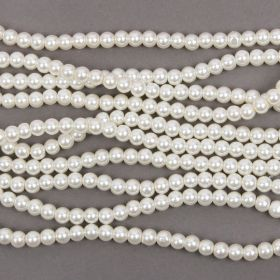 Ivory Round Glass Pearl 6mm pack of 5 STRD approx 725 bead