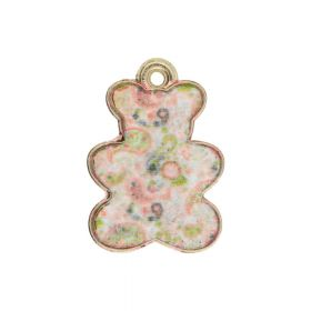 SweetCharm ™ Bear / pendant charms / 20x14x2mm / gold plated / beige-pink / 2pcs