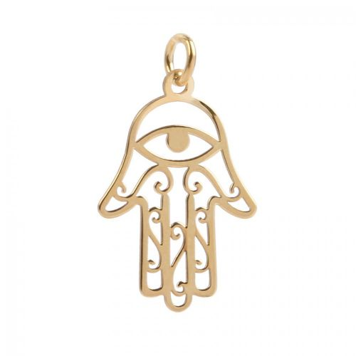 Gold Plated Sterling Silver 925 All Seeing Eye Hand Charm 14x22mm Pk1