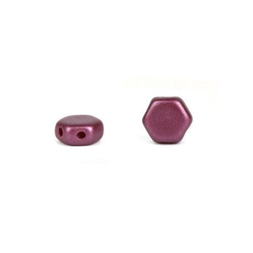 Czech Glass Honeycomb Beads 2 Hole 6mm Pastel Burgundy Pk30