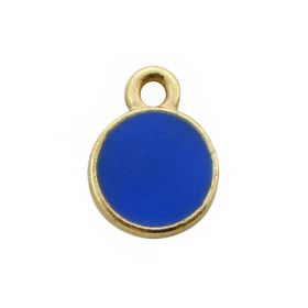 SweetCharm™ circle / pendant / 11x8mm / gold plated / blue / 1mm hole / 4pcs