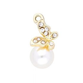 Glamm ™ Butterfly with pearl / charm pendant / 9 zircons / 23x13x10mm / gold plated / 1pcs