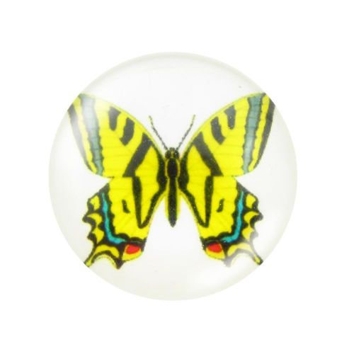 Glass cabochon with graphics 14mm PT1523 / yellow / 4pcs
