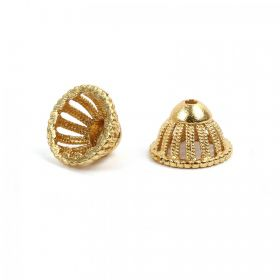 Gold Plated Bead Cone Domed Design 8x13mm Pk2