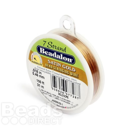 Beadalon 7 Strand Flexible Beading Wire 'Satin Gold' 0.018in 100ft