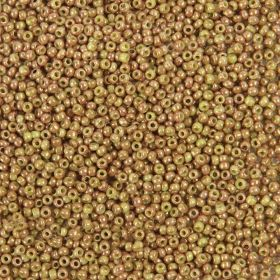 Toho Size 11 Round Seed Beads Marbled Opaque Avocado Pink 10g