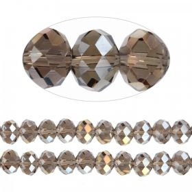 Essential Crystal Faceted 8mm Rondelle Gunmetal AB 72pack