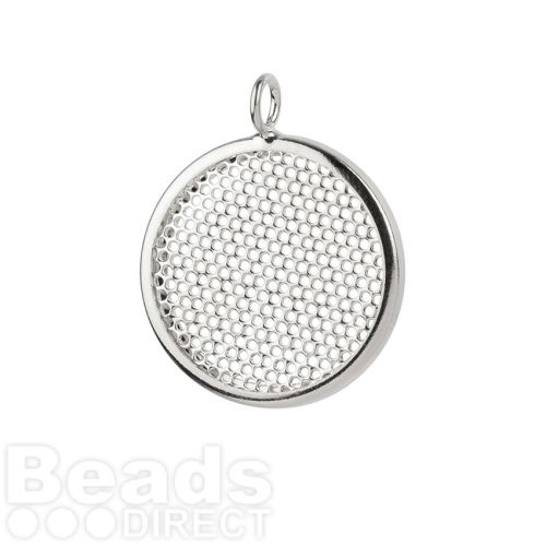 Silver Plated Sieve Seed Bead Base Charm 26mm Pk1