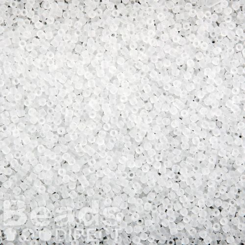 Toho Size 15 Round Seed Beads Transparent Frosted Crystal 10g