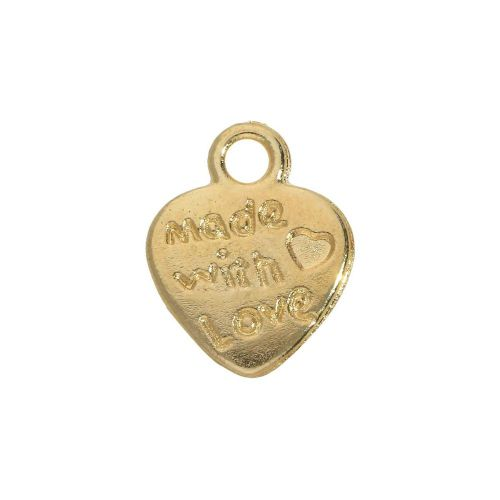 Heart - Made with love / charm pendant / 11.5x9x1.5mm / gold plated / 10pcs
