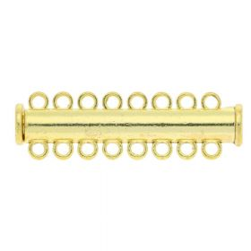 Magnetic clasp / overlapping / 8 loops / 11x38x7mm / gold / 1.5mm hole / 1pcs