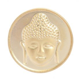 Matte Gold Plated 2 Sided Coin Buddha/Flower For Interchangeable Locket 32mm Pk1