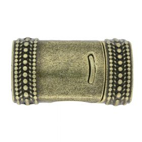 Magnetic clasp / curved with pattern / 26x15x10mm / antique bronze / 10x7mm hole / 1pcs