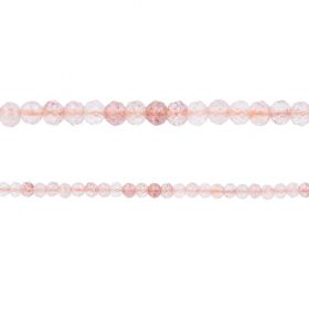 "Strawberry Quartz Semi Precious Faceted Round Beads 3mm 15"" Strand"