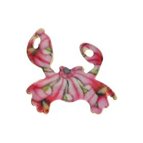 SweetCharm™ crab / charm pendant / 19x20x1.5mm / KC gold-pink / 2pcs