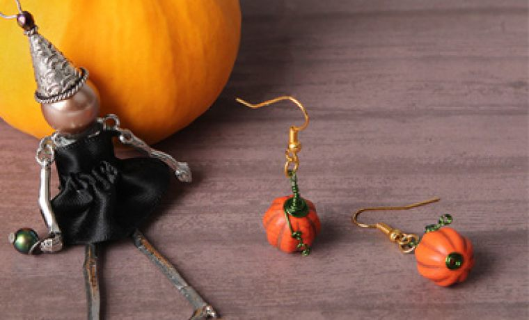 MINI-MAKE Pumpkin Earrings